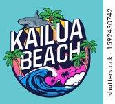 surf hawaii typography  tee... | Shutterstock .eps vector #1592430742
