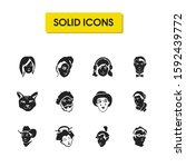 facial icons set with japanese...