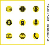 work icons set with coin ...