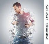 young man portrait with splash...   Shutterstock . vector #159244292