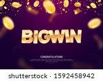 big win gold sign vector banner ... | Shutterstock .eps vector #1592458942