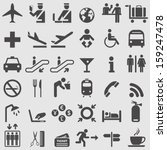 airport icons set. vector | Shutterstock .eps vector #159247478