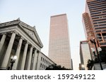 Central Business district, skyscrapers and Gallier Hall, New Orleans, Louisiana