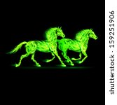 Two running fire horses in green on black background. - stock vector