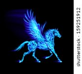 Blue fire Pegasus in motion on black background. - stock vector