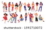 portrait of group of young...   Shutterstock .eps vector #1592710072
