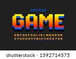 arcade game style font design ...   Shutterstock .eps vector #1592714575