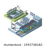 modern city subway entrance... | Shutterstock .eps vector #1592738182