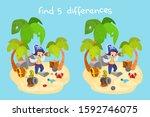 vector cartoon pirate scene.... | Shutterstock .eps vector #1592746075