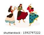 gypsy girls dancing flat vector ...   Shutterstock .eps vector #1592797222