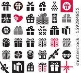 gift icon set. gift box. | Shutterstock .eps vector #159284852