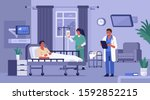 hospitalized patient lying in...   Shutterstock .eps vector #1592852215
