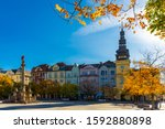 View of Masaryk Square, central square of Ostrava city overlooking Old Town Hall and Marian column on sunny autumn day, Czech Republic