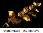 one golden leaves branch on... | Shutterstock . vector #1592888392