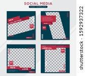 set modern square editable... | Shutterstock .eps vector #1592937322