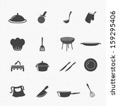 kitchen icons set | Shutterstock .eps vector #159295406