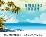 polynesia tahiti tropical beach ... | Shutterstock .eps vector #1592974282