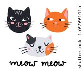 cute cats isolated vector...   Shutterstock .eps vector #1592991415