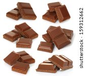 broken milk chocolate bar set... | Shutterstock . vector #159312662