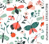 doodle insects and flowers... | Shutterstock .eps vector #1593147598