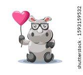 Playful Hippo Mascot Cartoon...