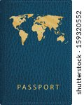 vector blue leather passport... | Shutterstock .eps vector #159320552