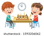 cartoon character playing chess ... | Shutterstock .eps vector #1593206062
