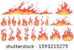 Cartoon Fire Flames. Fireball...