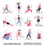 woman sport activities.... | Shutterstock .eps vector #1593215332
