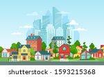 suburban landscape. urban... | Shutterstock .eps vector #1593215368