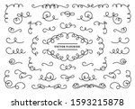 line flourish ornament swirls.... | Shutterstock .eps vector #1593215878