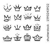 crown logo graffiti hand drawn... | Shutterstock .eps vector #1593243922