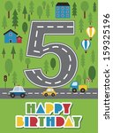 happy birthday vehicle card.... | Shutterstock .eps vector #159325196