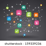 network background with nodes... | Shutterstock .eps vector #159339236