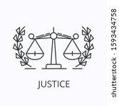 balance thin line icon. justice ...