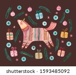 unicorn in nordic sweater... | Shutterstock . vector #1593485092