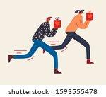 men and women courier running... | Shutterstock .eps vector #1593555478