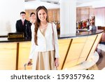 asian chinese woman arriving at ... | Shutterstock . vector #159357962
