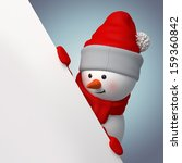 3d Smiling Snowman  Holding...