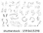 hand drawn arrow vector icons...   Shutterstock .eps vector #1593615298