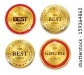 Set of blank round polished gold metal badges on white background. Best Seller. The Best Quality. Premium quality guaranteed. The Genuine Quality. Vector illustration.