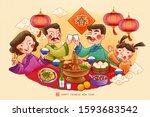 traditional lunar year reunion... | Shutterstock . vector #1593683542