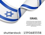 waving ribbon or banner with... | Shutterstock .eps vector #1593685558