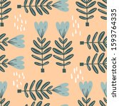 floral seamless pattern with... | Shutterstock .eps vector #1593764335
