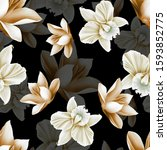 seamless floral pattern with... | Shutterstock . vector #1593852775