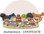 cartoon children around table...   Shutterstock .eps vector #1593951478