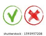 set of flat vector mark buttons ...