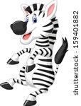 cute zebra cartoon dancing | Shutterstock .eps vector #159401882