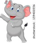 cute elephant cartoon presenting | Shutterstock .eps vector #159403556
