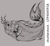 hand drawn outline koi fish and ... | Shutterstock .eps vector #1594045918